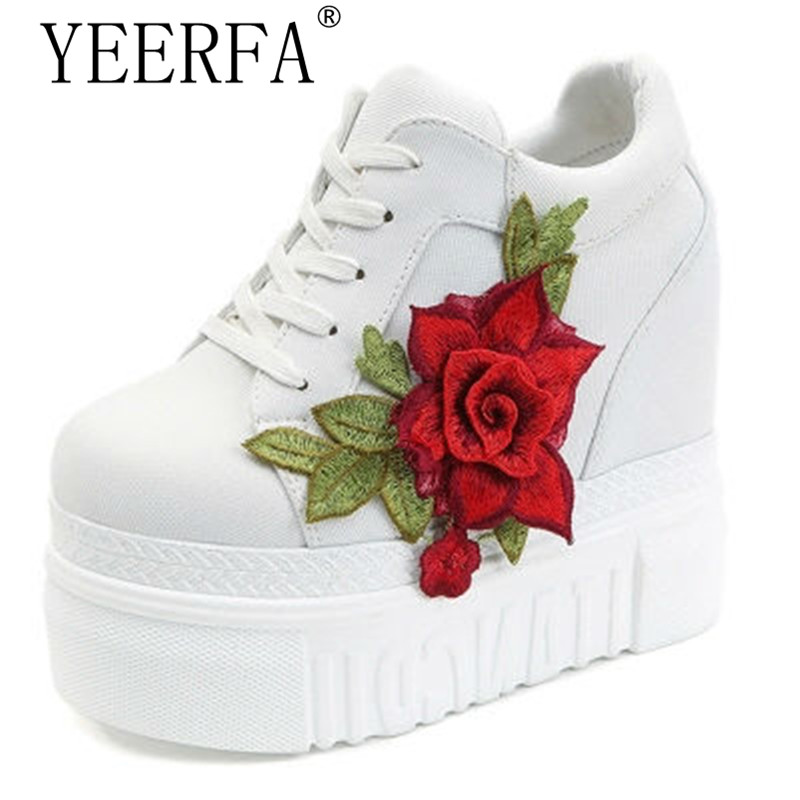 YIERFA Black White Hidden Wedge Heels Fashion Womens Elevator Shoes Shoes For Women Breathable Lace UP Height Increasing Shoes