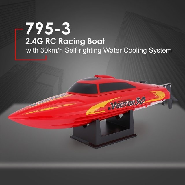 rc boat 795-3 30km/h 2.4G Brushed High Speed RC Racing Boat Speedboat Ship with Water Cooling System Self-righting Kids Gift