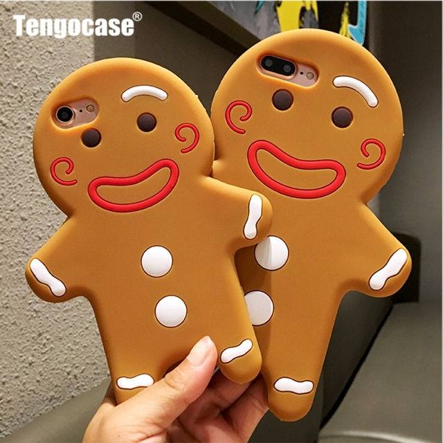 Tengocase 3D Cute Christmas Gingerbread Man Soft Silicon Case for iPhone 6 7 8 Plus Cartoon Cover Case For iPhone 6S 5 5S SE