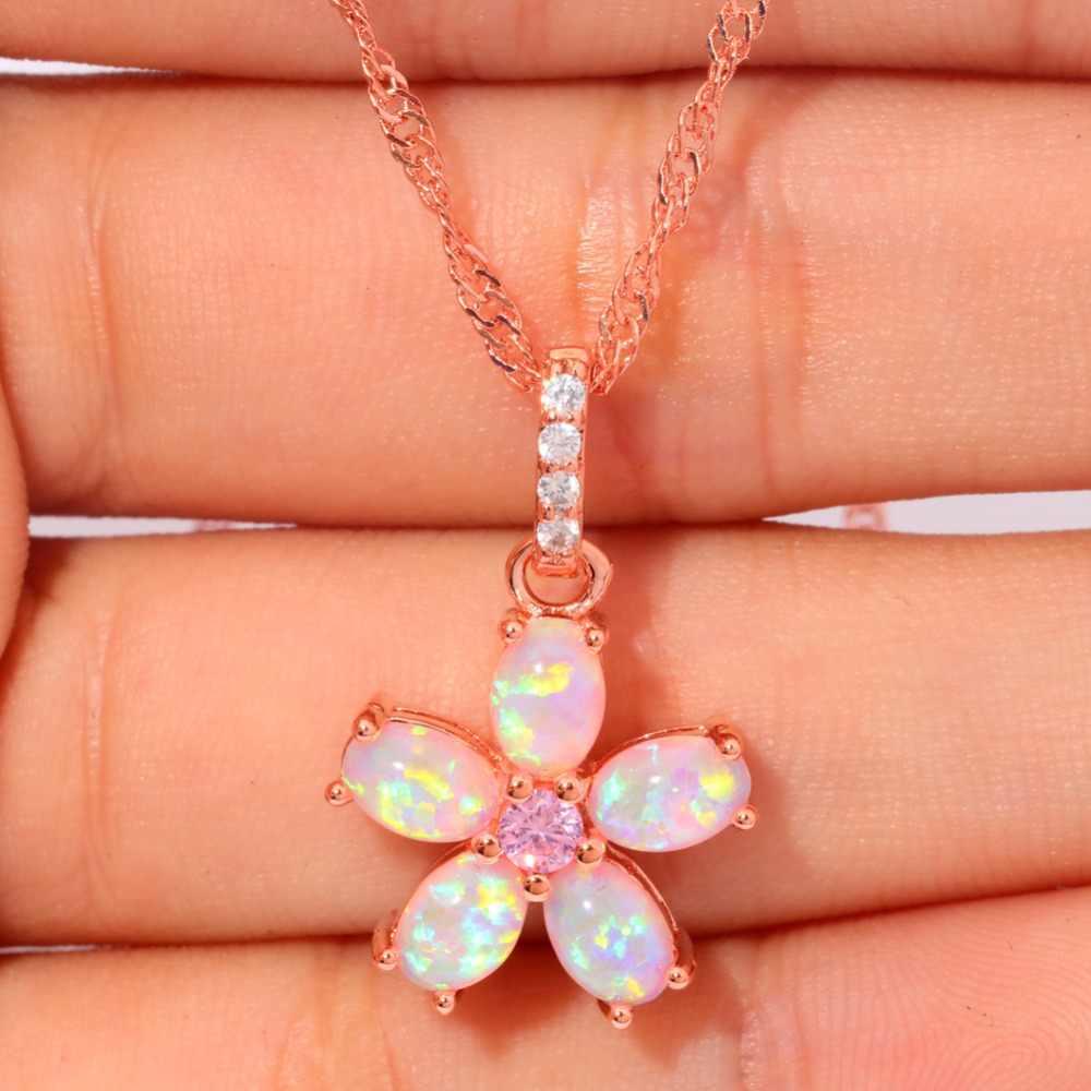 CiNily utworzono różowy biały ognisty opal cyrkonia różowe złoto kolor hurtownie dla kobiet biżuteria naszyjnik OD6490-91