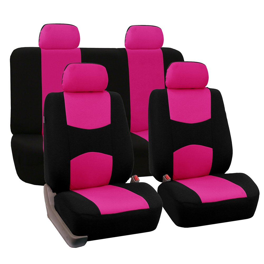 4 pièces housse de siège de voiture en tissu plat universel (noir) (convient à la plupart des voitures, camions, Suv ou fourgons)