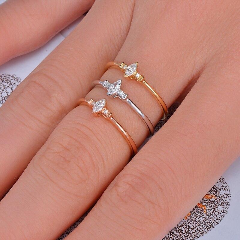 купить Caimao Solid 14KT Gold Natural H VS2 Marquise Shape Diamond Engagement Exquisite Small Ring по цене 13660.7 рублей