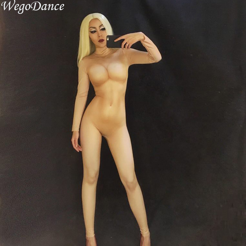 Sexy Nude Skinny Bodysuit Leggings Costume One-piece Dance Performance Wear Female Singer Stage Big Stretch Jumpsuit Women Cloth