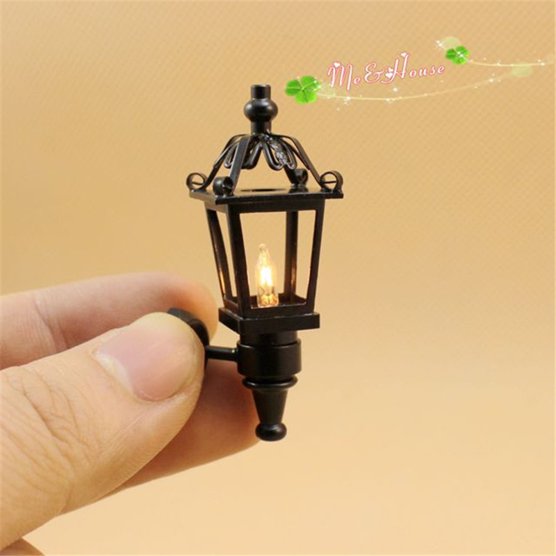 1:12 Dollhouse Miniature wall lamp LED simulation mini Street light Furniture toy for dolls children house play toys for girls(China)