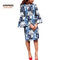 2017 Summer Dress For Women AFRIPRIDE Private Custom Flare Sleeve O Neck Knee Length Casual Dress