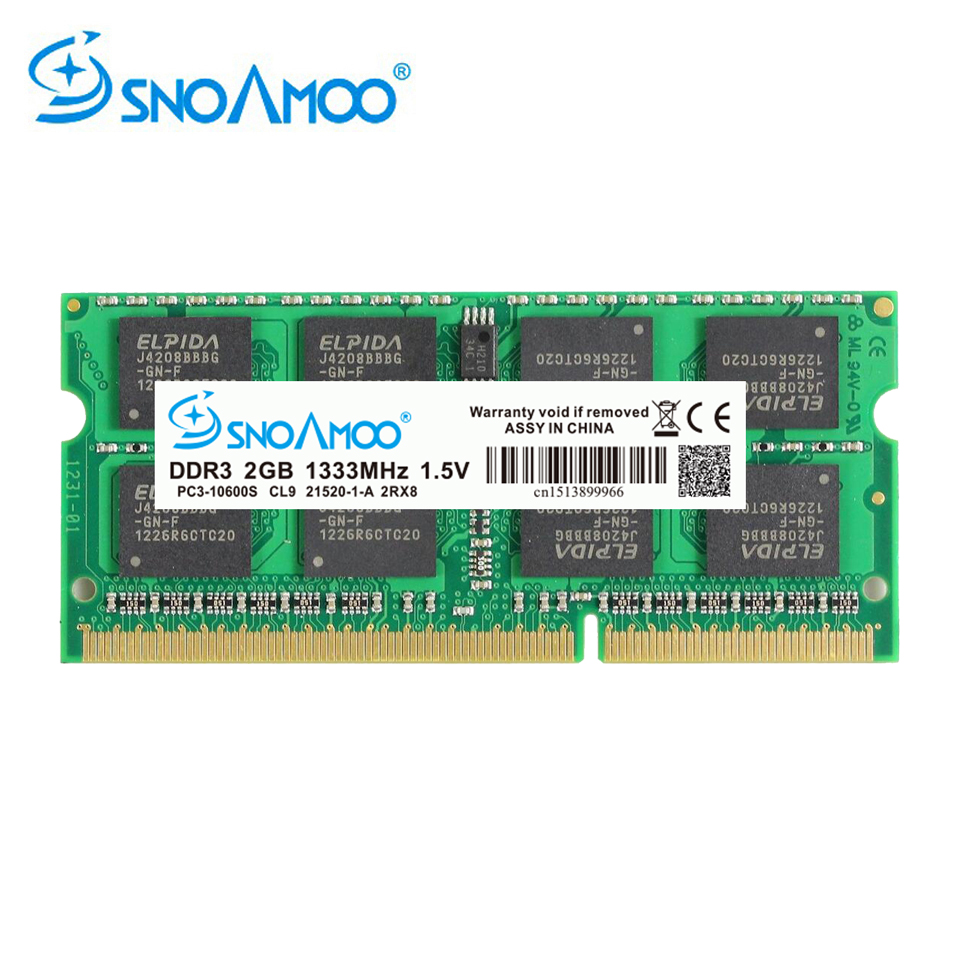 SNOAMOO DDR3 4GB 1333/1600 MHz Memoria Ram Notebook Memory SO-DIMM PC3-10600S 204 Pin 1.5V 2Rx8 SO-DIMM Computer Memory Warranty