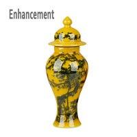 Antique Yellow Crystal Glazed Porcelain Flower Vases Handmade Household Furnishing Articles With Patterns Porcelain Vase