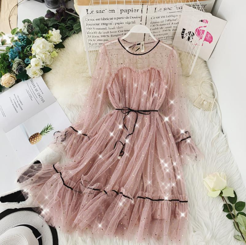 HISUMA spring autumn new women Star sequins gauze flare sleeve lace-up Princess dress female elegant o-neck mesh puff dresses 26