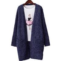 2017 Lente Mode Nieuwe Zakken Lange Vrouw Cardingan Trui Femme Volledige Mouw Losse Gebreide Trui Jas Bovenkleding Grey Blue XH215