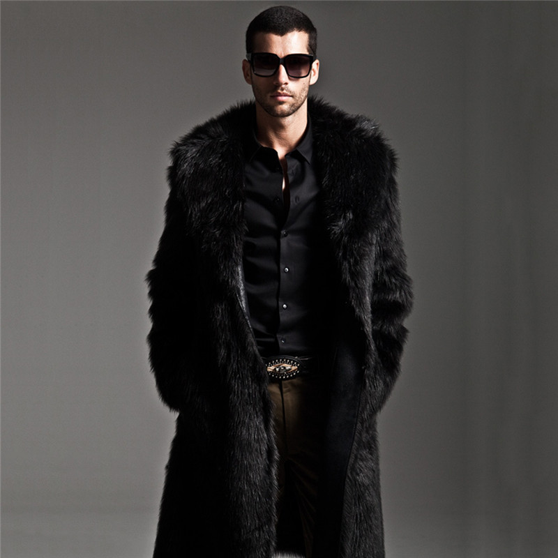 Long Oversized Mens Cashmere Trench Coat 2018 Winter Thick Warm Faux Fox Fur Jackets Plus Size Fluffy Fur Overcoat Manteau Homme