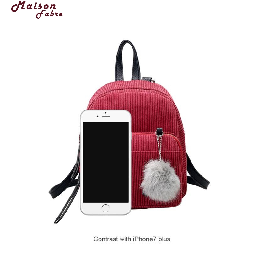 Maison Fabre Backpack Girl Backpack Small Mini Backpack Small Women Shoulder Bag Fur Ball Solid Color Corduroy Backpack 2018j2