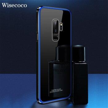 De Metal de parachoques del caso para Samsung Galaxy S9 Plus lujo chapado marco duro de vidrio templado claro espejo armadura cubierta de s9plus S9 caso