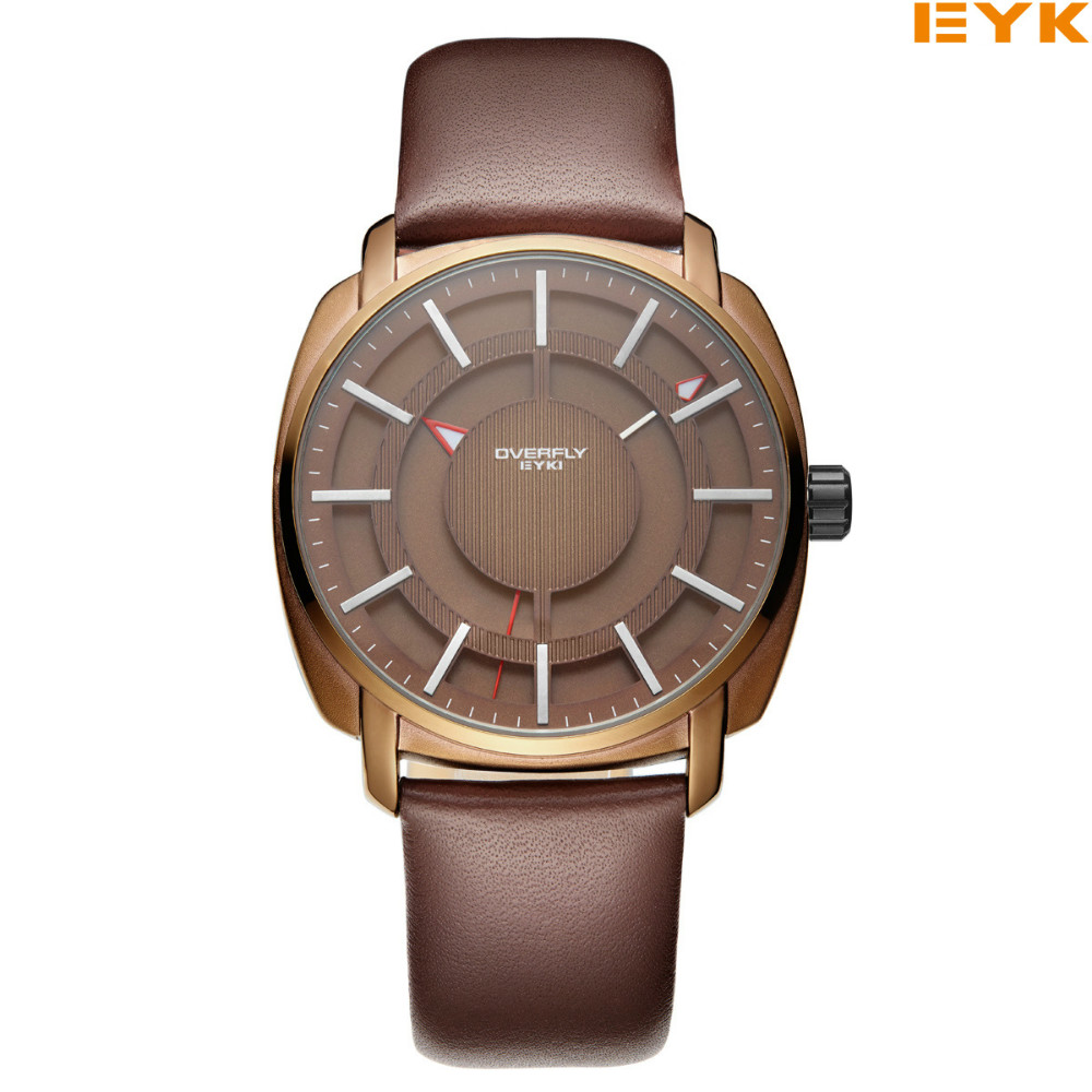 EYKI Fashion Casual Watches Hollow Square Dial Leather Strap Men Wristwatches Luminous Pointer Waterproof Hour Quartz Clock Gift bewell men wood dial quartz watch leather strap watches luminous pointer calendar roman numerals scale waterproof wristwatches