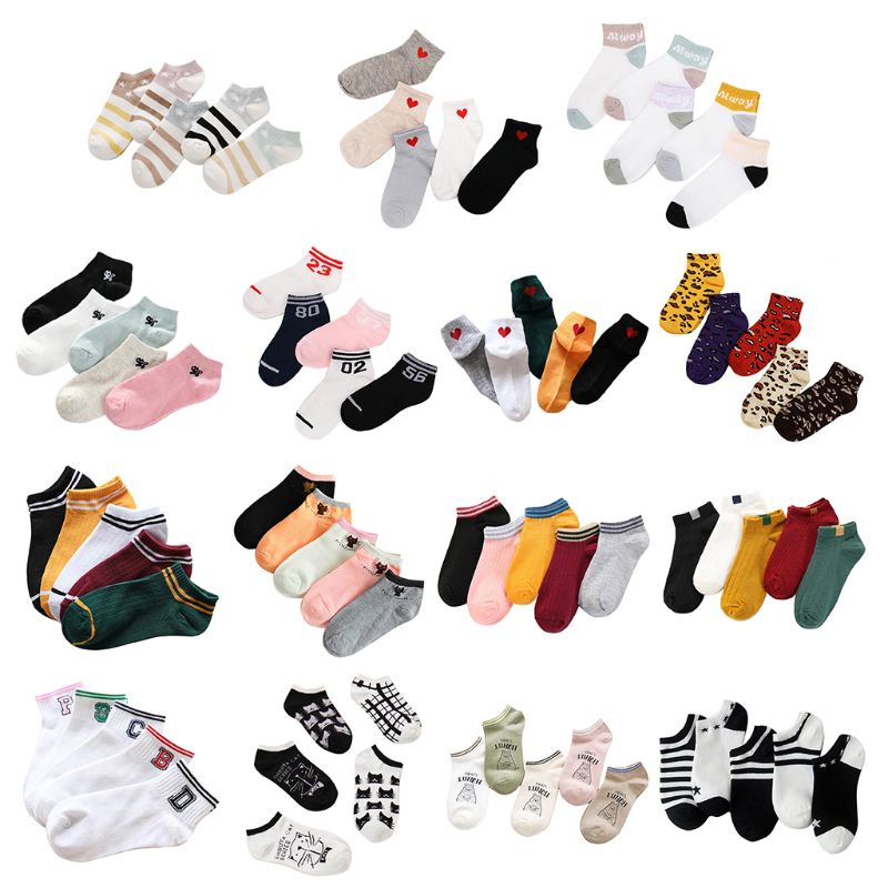 15 Styles Women Unisex Korean Cotton Short Boat Socks Non-Slip Ribbed Sweet Girls Leopard Cute Cat Printed Hosiery Random Color