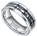 8MM Tungsten Carbide Rings with Carbon Fiber Inlay Heartbeat Cardiogram Women Jewelry Wedding Band Comfort Fit