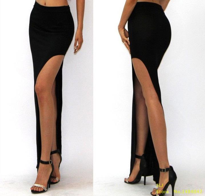 VISNXGI Новая летняя Высокая талия модная Очаровательная сексуальная женская юбка открытая боковая раздельная юбка размера плюс 7 цветов на выбор - Цвет: D001 Black