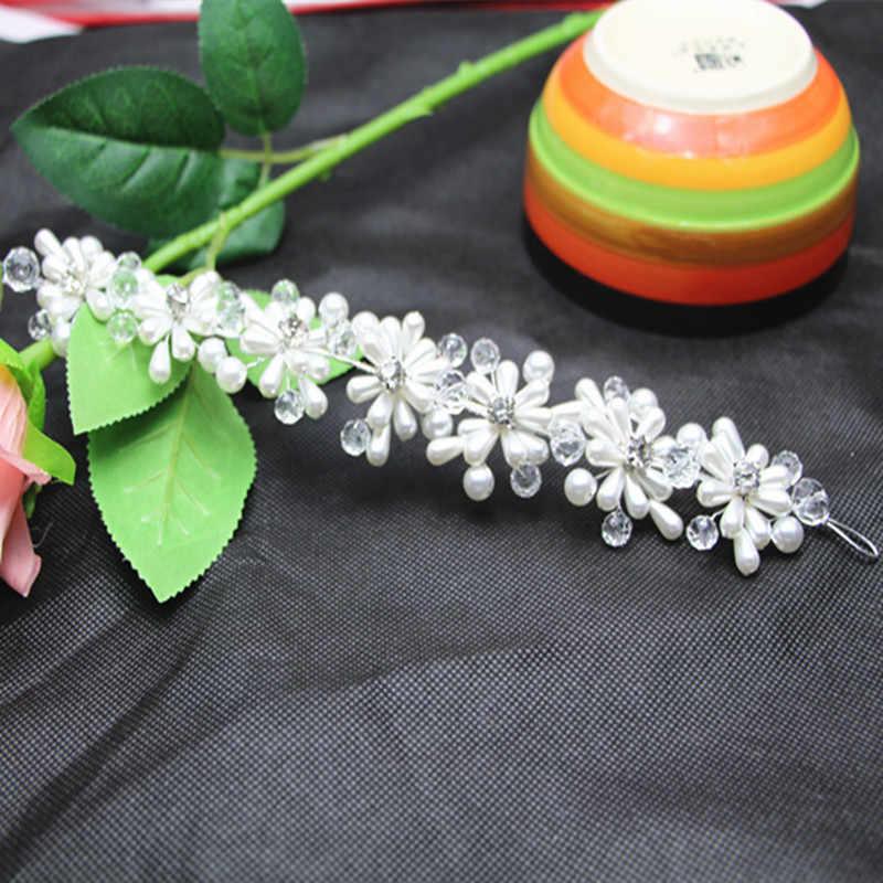 Diadema Tiara de novia de flores hechas a mano, accesorios de joyería para el cabello nupcial de la boda