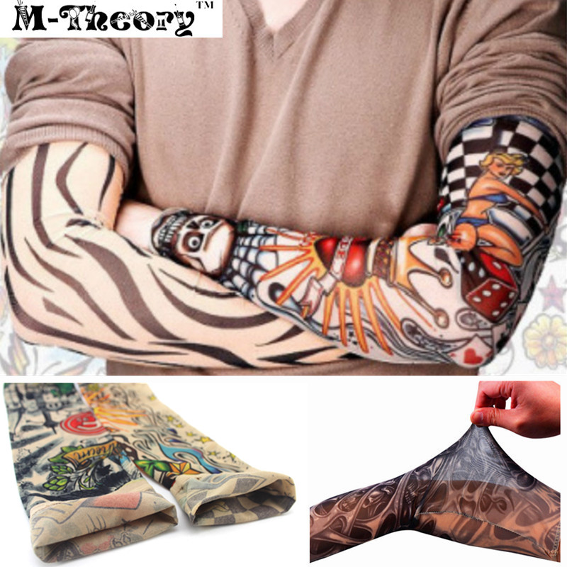 M-teori 3D Arm Tatueringar Ärm Elastiska Strömpar Leggings - Tatuering och kroppskonst - Foto 1