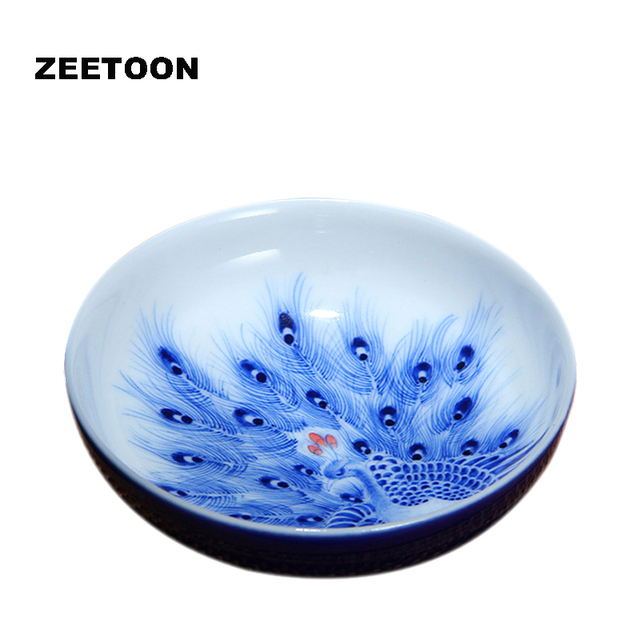 Boutique Collection Jingdezhen Blue glaze Bue and White Porcelain Peacock Teacup China Kung Fu Tea set Teacup Master Cup 90ml