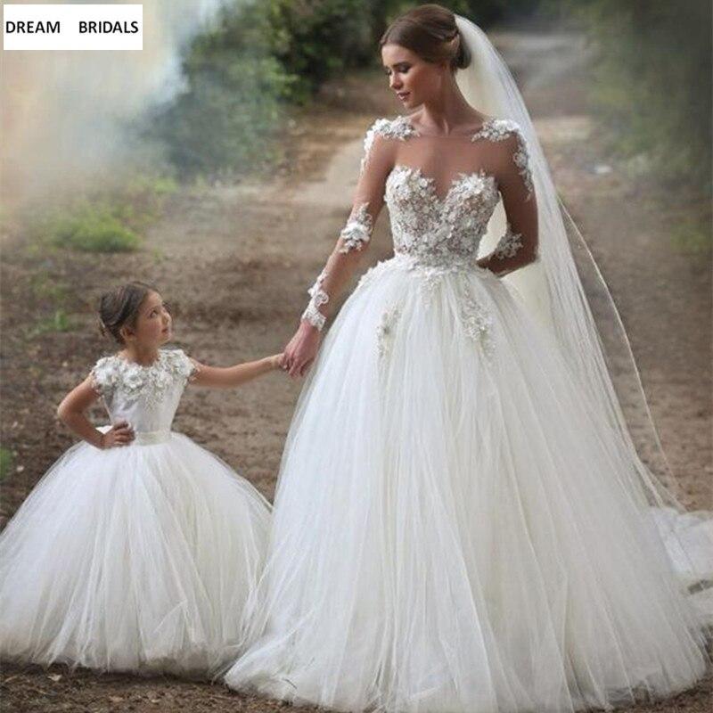 2019 Ball Gown Cap Sleeves   Flower     Girl     Dresses   For Weddings Tulle Lace Long First Communion   Dresses   For Little   Girls