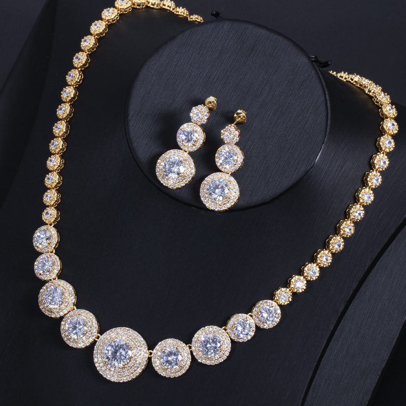 Image 5 - CWWZircons Gorgeous African Cubic Zirconia Luxury Dubai Arab Gold  Color Filled Wedding Necklace Earrings Jewelry Sets T319Bridal Jewelry  Sets