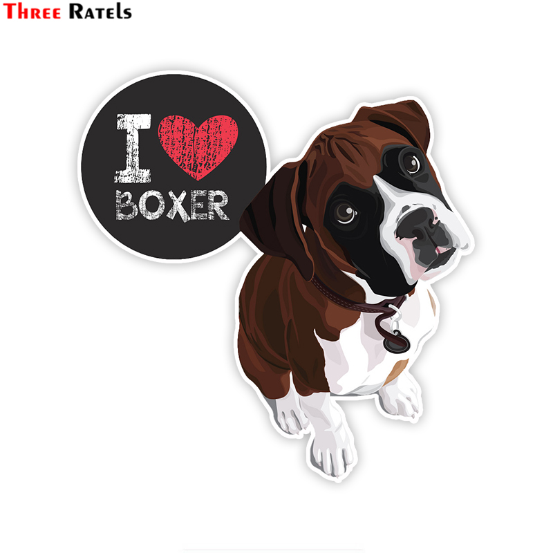 Three Ratels LCS051# 15x15.5cm I Love My Boxer Dog Colorful Car Sticker Funny Car Stickers Styling Removable Decal