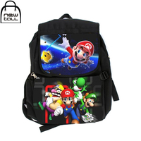 NEWTALL Super Mario Brother Characters Black Canvas Shoulder Bag Middle Size Student Backpack With Laptop