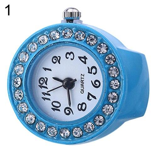 Fashion Lady Girl Silicon Round Rhinestone Elastic Quartz Finger Ring Watch Gift