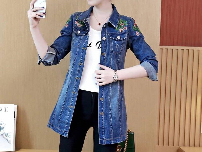 Embroidery Denim   Jacket   Femme Casual   Basic   Long Jeans Coats 2019 Autumn Women Elegant Vintage   Jackets   Outwear Casacos Feminino