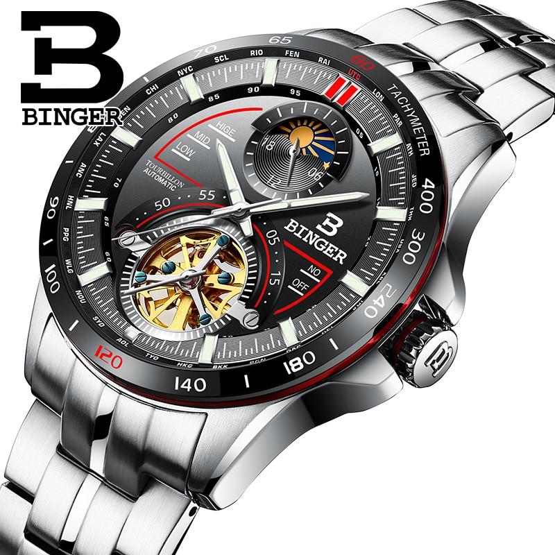 Switzerland BINGER Watch Men Luxury Brand Mens Watches Tourbillon Automatic Mechanica Wristwatch Sapphire reloj hombre B