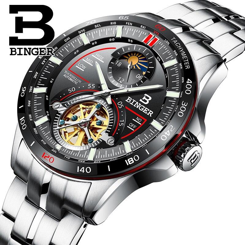 Швейцария BINGER часы для мужчин Элитный бренд s часы Tourbillon автоматические механические наручные часы сапфир reloj hombre B-MS10001