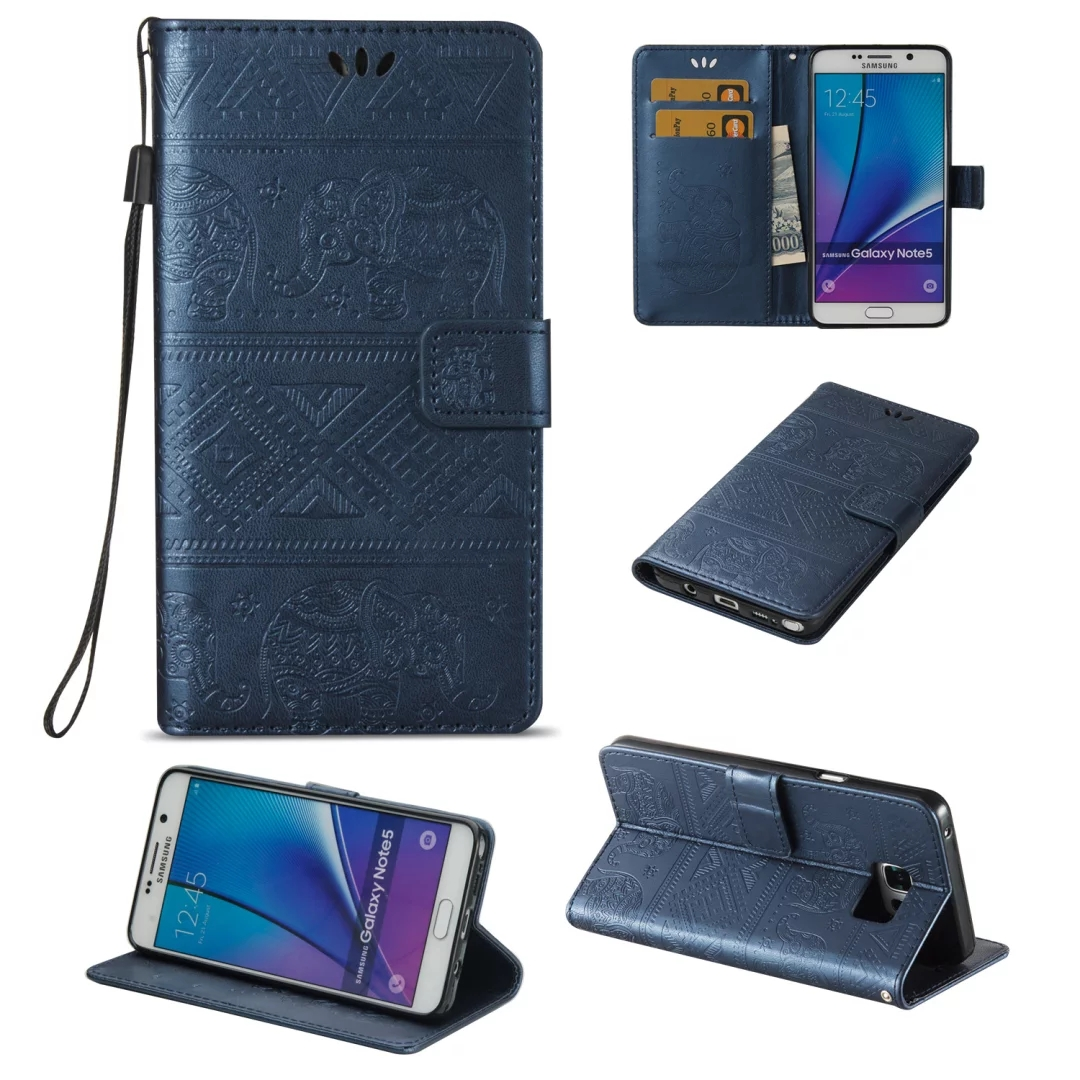 <font><b>Elephant</b></font> Printing Book Style Wallet Flip Leather <font><b>Case</b></font> Cover For Samsung Galaxy Note 5 Note5 N9200 <font><b>Phone</b></font> <font><b>Cases</b></font> Capa