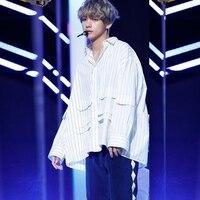 Kpophome BTS V Same unisex fashion Striped blouse cool sweatshirt harajuku style Pocket Striped lightweight shirts well designed