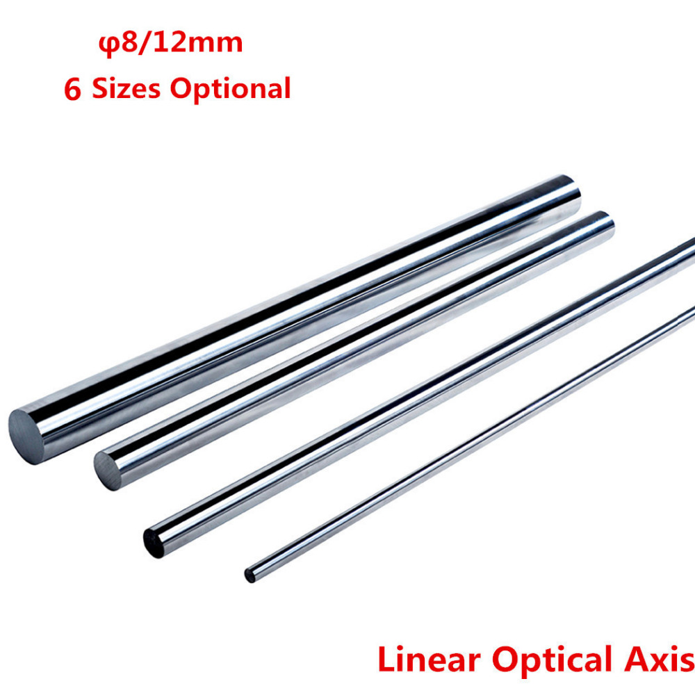 2Pcs Optical Axis OD 8/12mm x 400/500/600mm Cylinder Liner Rail Linear Shaft Chrome Plated Guide Slide Part 1pc od 25mm x 600mm cylinder liner rail linear shaft optical axis