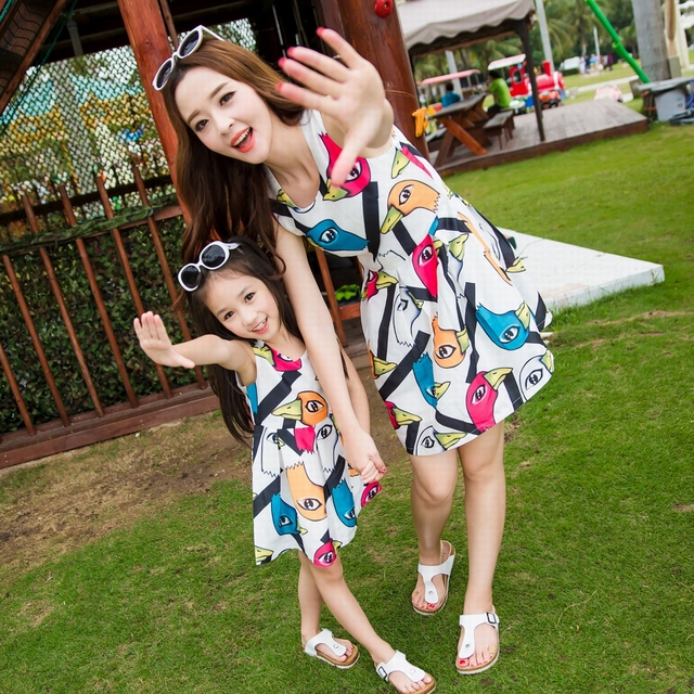 Family fashion summer clothes for mother and daughter summer one-piece dress tank dress casual 2016 new short-sleeve summer slim