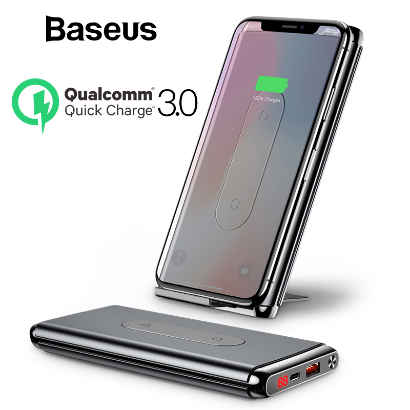 Baseus Wireless Power Bank 10000mah For iPhone XR Xs Max Portable External Battery Pack LCD Display QC3.0 Fast Charger PowerbankBaseus Wireless Power Bank 10000mah For iPhone XR Xs Max Portable External Battery Pack LCD Display QC3.0 Fast Charger Powerbank