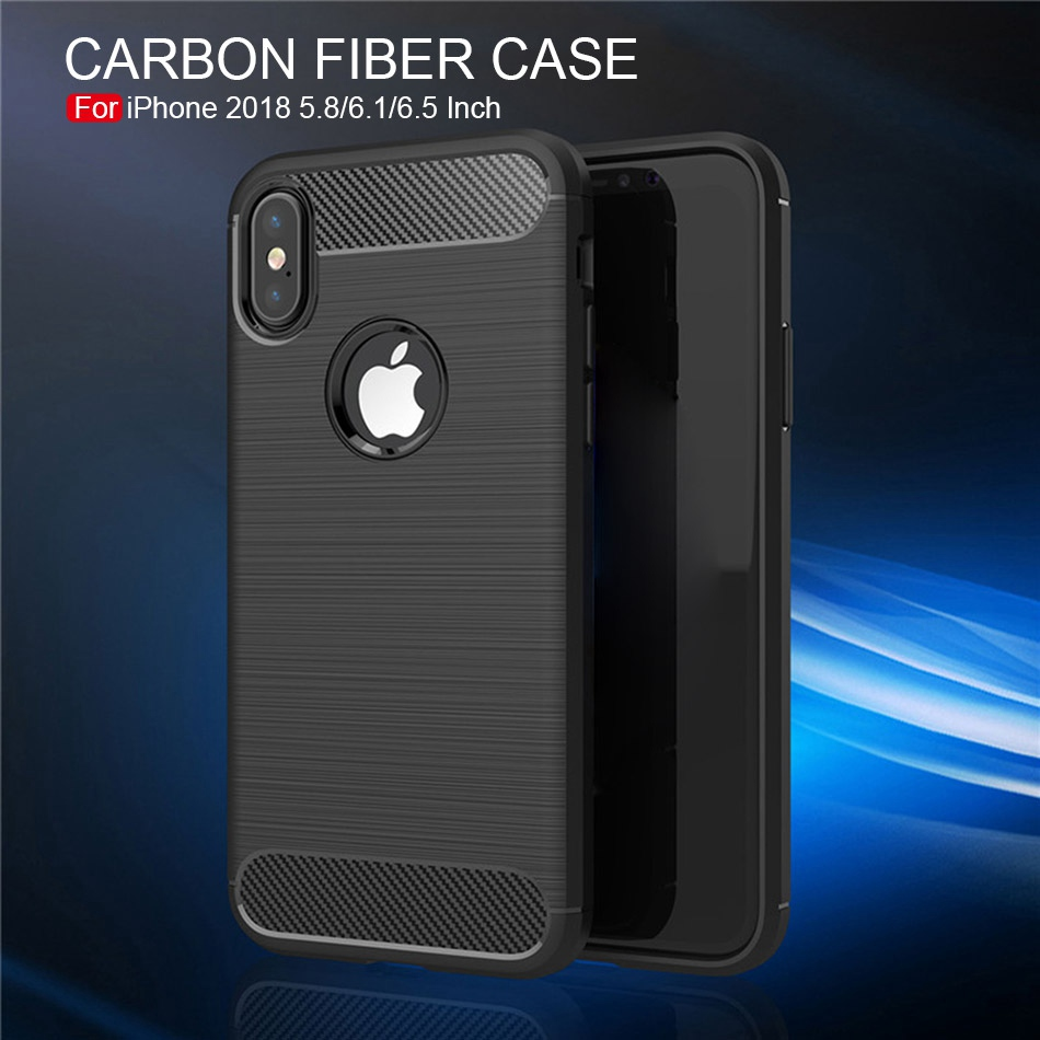 TOMKAS Phone Case Carbon Fiber Cover For iPhone XS Plus X 2018 5.8 6.1 6.5 Inch Soft TPU Silicon Case Protective Back Cover 2018 (1)