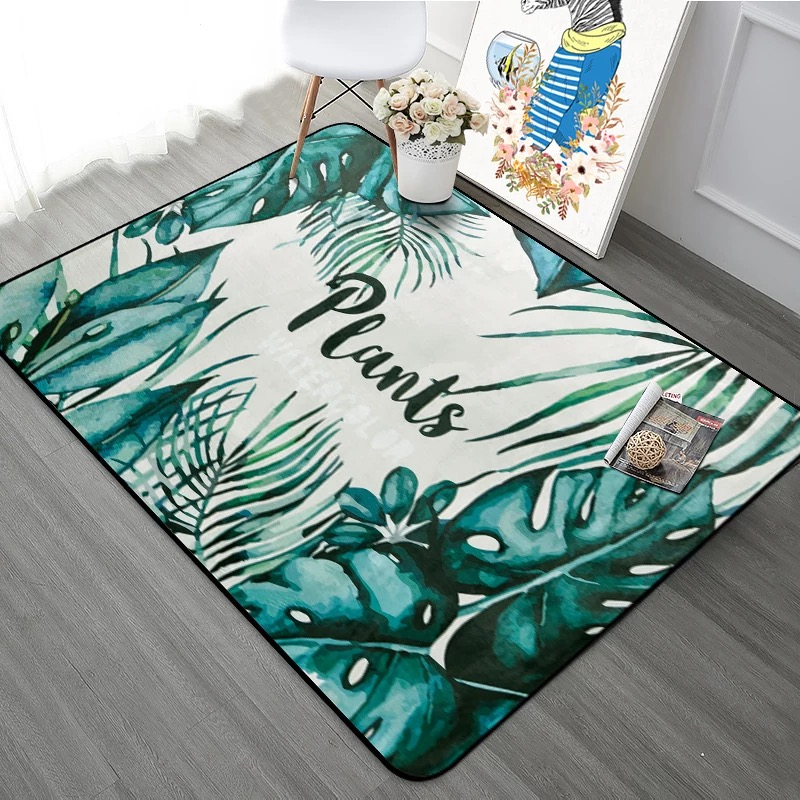 Flannel 3D Carpet for Parlor Monstera Plant Printed Living Room Area Rugs Skid Resistance Playing Mat Kids Bed Room Floor Mat