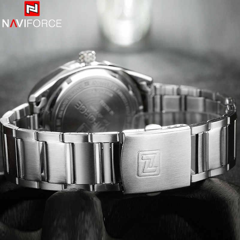 NAVIFORCE العلامة التجارية الرجال ساعات الأعمال ساعة كوارتز رجالية سوار فولاذي غير القابل للصدأ 30 م مقاوم للماء تاريخ ساعات المعصم Relogio Masculino