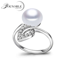 Fashion natural pearl rings for women,resizable white freshwater pearl ring 925 sterling silver jewelry girls best birthday gift venidy female natural resizable opal ring fashion red 925 sterling silver jewelry vintage wedding rings for women birthday stone