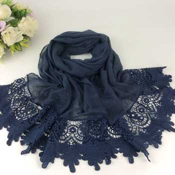 Luxury Diamond Plain Floral Embroidery Lace Women Long Scarves Cotton 2016 Shawls Maldives Style - DISCOUNT ITEM  7% OFF All Category
