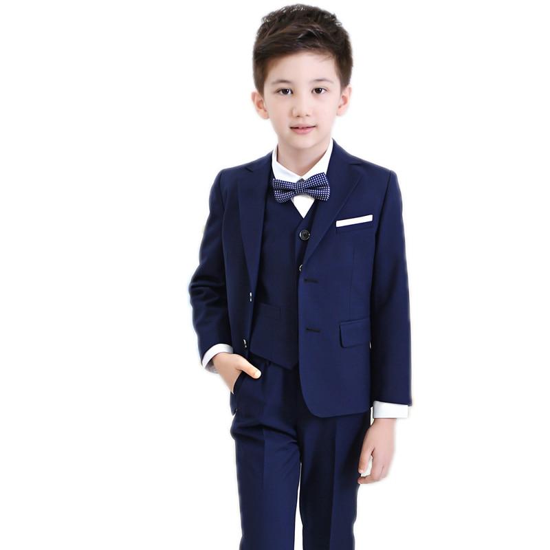 baby boys kids blazers boy suit for weddings prom formal black/navy blue dress wedding boy suits jackets+pants+blouse+Tie 4pcs number