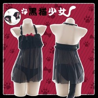 Sexy Lingerie Cat Cosplay Costume Hot Black Women Erotic Lace with Cute Bow Adorable Kitty Sleepwear Uniform Tail underwear.