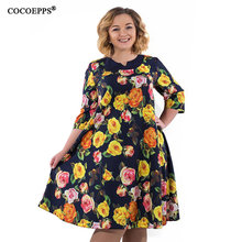 COCOEPPS 5XL 6XL 2018 New Plus Size Mulheres Vestido Big Size Floral Imprimir Vestidos de Verão Moda Feminina Elegante Vestido Solto vestidos