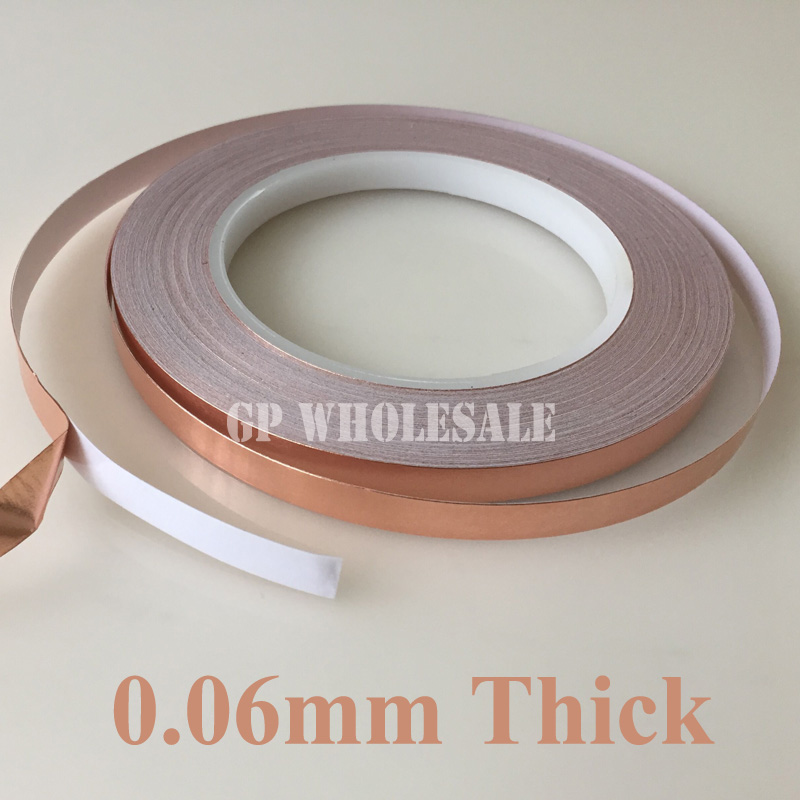 2x 8mm*30M*0.06mm Adhesive Copper Foil Tape for Electromagnetic Wave Radiation EMI Shielding Mask 2 roll 6mm 30m 0 06mm adhesive single electric conduct copper foil tape for electromagnetic wave radiation emi shield mask