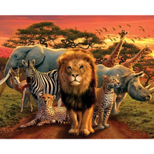 African grassland animals diamond Embroidery diy painting mosaic diamant 3d cross stitch pictures H545