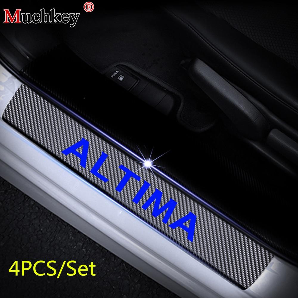 Black Car Chrome Door Sills Scuff Plate Guards Protectors For Nissan Altima 2019