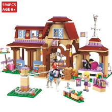 594Pcs Friends Series Heartlake Riding Club Model Building Blocks Sets Friends Bricks Toys For Children цена