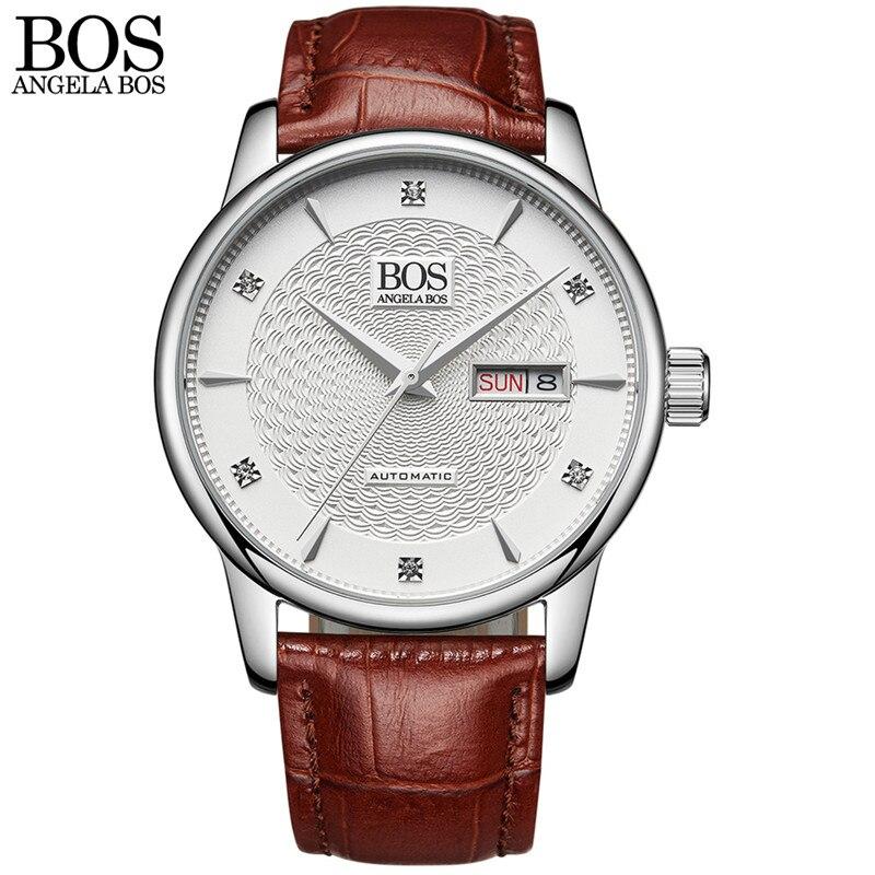 ANGELA BOS Автоматические Наручные Механические деловые часы мужские сапфировые волнистые часы из натуральной кожи роскошные часы - 4