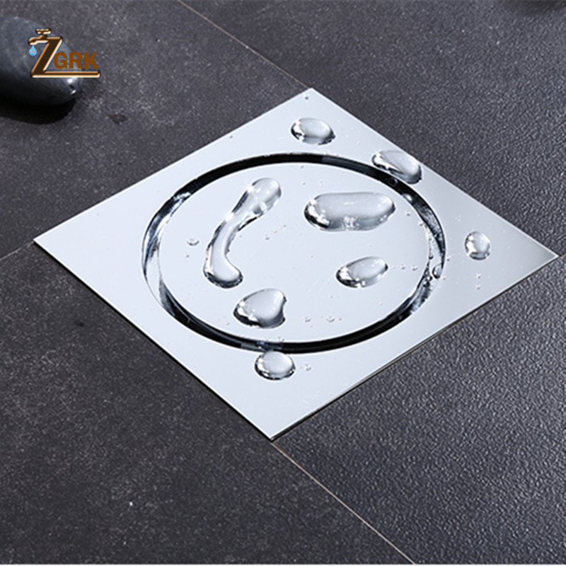 ZGRK Tile Insert Square Floor Waste Grates Bathroom Shower Drain Odor-proof Bathroom Brass Invisible Floor Drain
